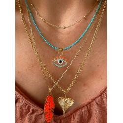Kalp Madalyonlu Gold Gümüş Zincir