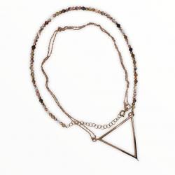 Geometrik Madalyonlu Pembe Opal Kolye